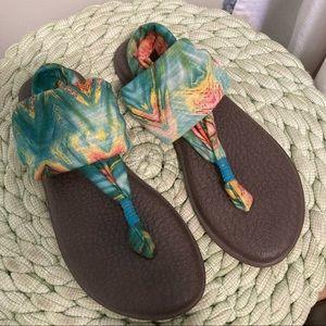 Sanuk teal tie dye yoga sling sandals